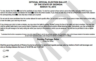 Vote Today in Special Election for Sunday Package Sales in Pickens County
