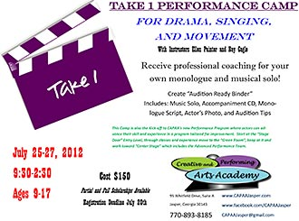 The Creative and Performing Arts Academy is excited to announce the Take 1 Performance Camp