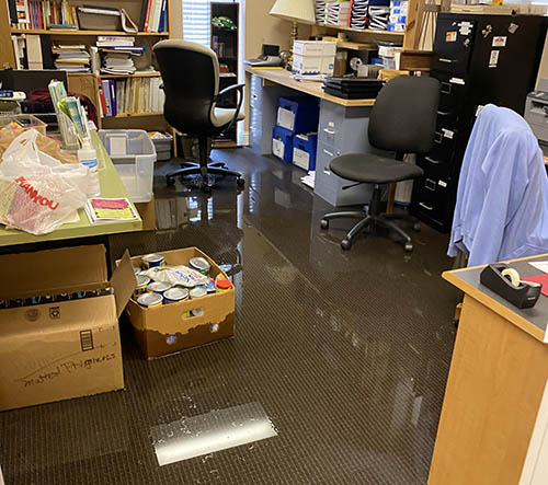The main office turned into a reflecting pool.