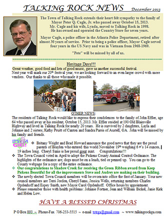 Town of Talking Rock December 2013 Newsletter