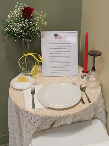 Missing Man Table at Piedmont Mountainside Luncheon in 2016