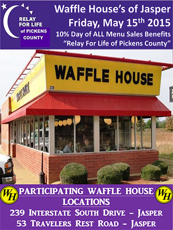 Relay For Life Days at Waffle House's in Jasper
