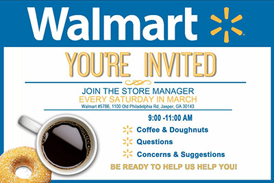 Meet and Greet with Walmart Jasper Manager on Saturdays in March