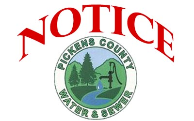 NOTICE:  Pickens County Water & Sewer Maintenance in the Jerusalem Area