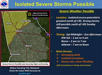 Severe Storm and Heavy Rain Potential for Sunday